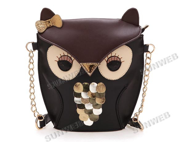 New Women's Splicing Color Shoulder Cross Body Bag Owl Pattern Holder Cover School Tote Small Bag Handbag black   brown  17782-in Messenger Bags from Luggage & Bags on Aliexpress.com