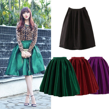 2014 Summer Spring Fashion Street Snap Celebrity Classic High Waist Bright Flare Pleated Midi Skirt Swing Skirt For Femal C7008-in Skirts from Apparel & Accessories on Aliexpress.com