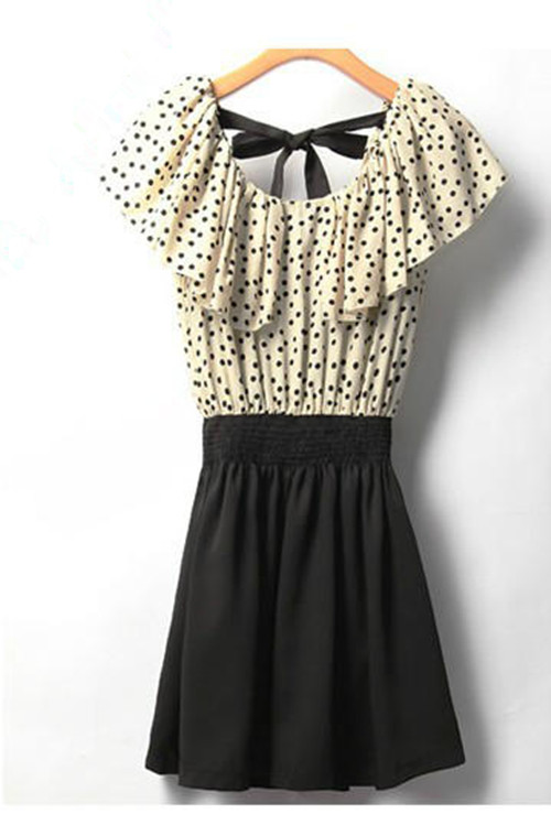 HOT Korean Women'S Summer Short Sleeve Chiffon Dots Polka Waist TOP Mini Dress | eBay