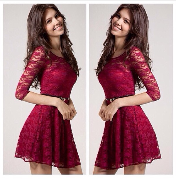 dress red burgundy pretty lace lace dark red brunette