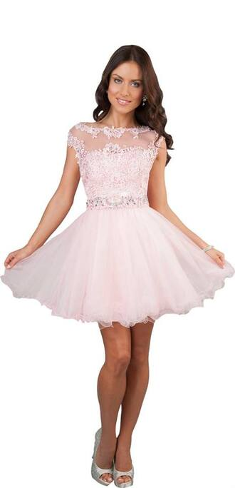 dress prom prom dress style pink lace dress pink dress beaded short dresses high neck dress promotion homecoming dress cute short dress cap sleeve winter formal dress sherri hill sparkle scoop neckline blush pink party dress