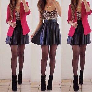 Hot Black Pleated Faux Vegan Leather Skater Skirt Mini Circle A Line Flare   eBay