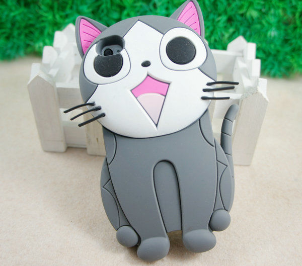 Newest 3D Cat Silicon E Soft Back Cover Case for Apple iPhone 4 G 4S Gray ST76 | eBay