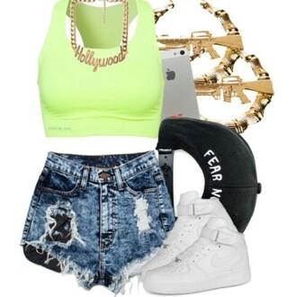 shorts swag snapback crop tops hollywood streetwear shoes shirt jewels hat