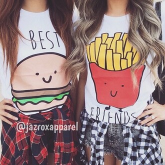 t-shirt matching shirts for best friends best friends top bff burger and fries top summer fashion cool food style trendy girly lookbook tumblr bff shirts hipster cool shirts best friend shirts bestfriend shirt matching set dope quote on it swag hamburger best friends burger and fries best buds best bitches