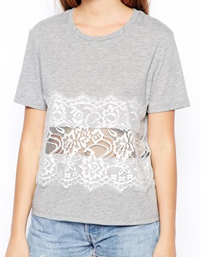 ASOS   ASOS T-Shirt with Eyelash Lace Layer at ASOS
