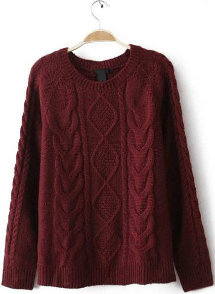 Wine Red Diamond Cable Knitting Long Sleeve Sweater - Sheinside.com