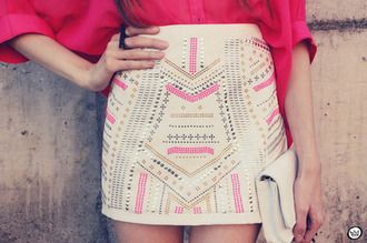 skirt pink cream bodycon skirt colorful patterns cute beige silver gold studs heels walet bag jewery dress blouse