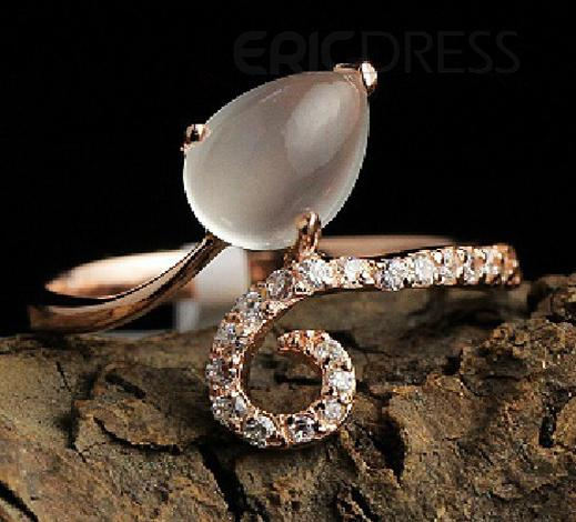 Graceful 925 Silver Natural Moonstone Lady's Ring Rings- ericdress.com 10635345