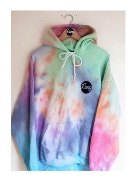sweater colorful tie dye hoodie