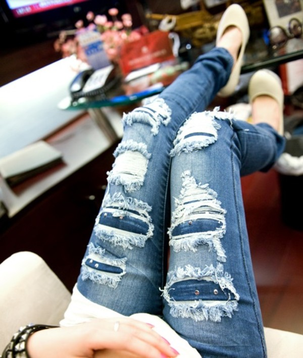 jeans blue ripper ripped pants ripped jeans