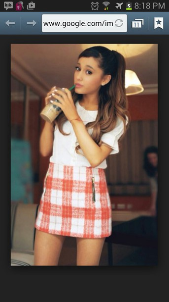 ariana grande plaid skirt