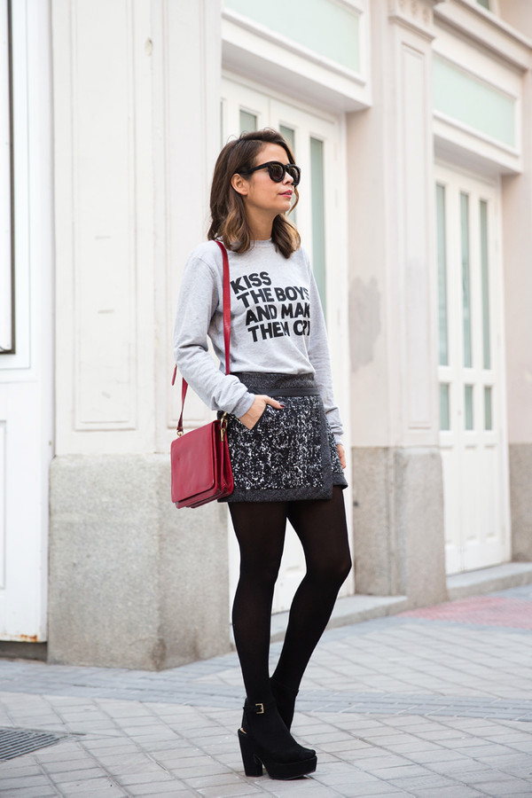 collage vintage sweater skirt bag shoes