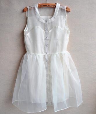 dress clothes white floaty floaty dress brave buttondress shirtdress short chiffon silk button up bernard lafonz white dress summer tulle skirt