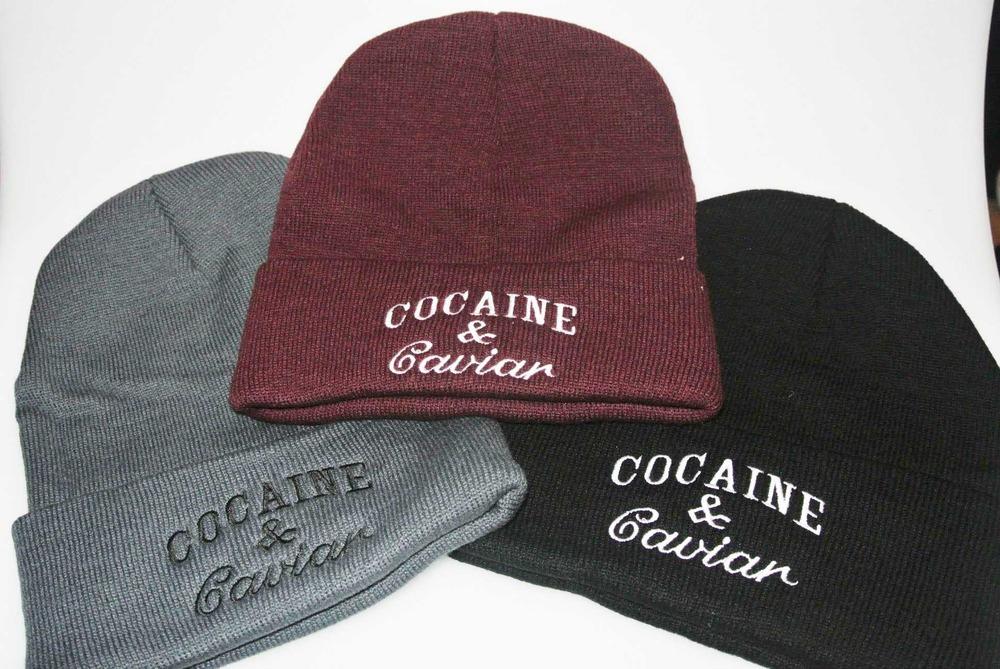 Cocaine and Caviar Beanie Hat Burgundy Grey Black  / Snapback Village