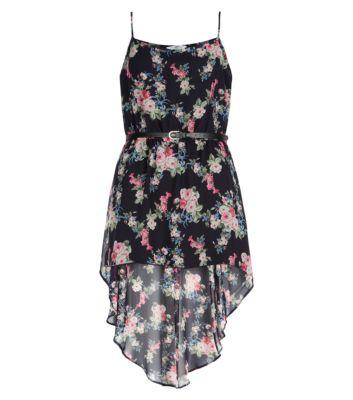 Blue Floral Strappy Belted Dip Hem Dress