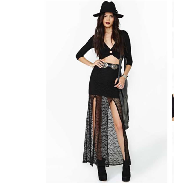 skirt gypsy boho black lace lace skirt