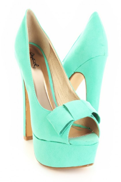 Sea Green Faux Suede Bow Accent Peep Toes Platform Pumps / Sexy Clubwear   Party Dresses   Sexy Shoes   Womens Shoes and Clothing   AMI CLubwear