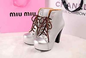 WOMENS LADIES WOODEN BLOCK HIGH HEEL PLATFORM LACE UP ANKLE BOOTS SHOES SIZE | eBay