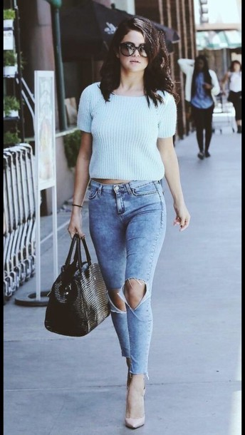 white top ripped jeans louboutin leather bag top pants jeans
