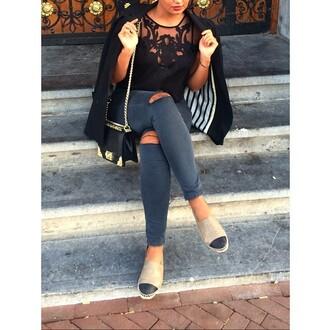 black cute lace lace cami t-shirt top toms ripped jeans floral blazer jeans jacket purse stripes espadrilles