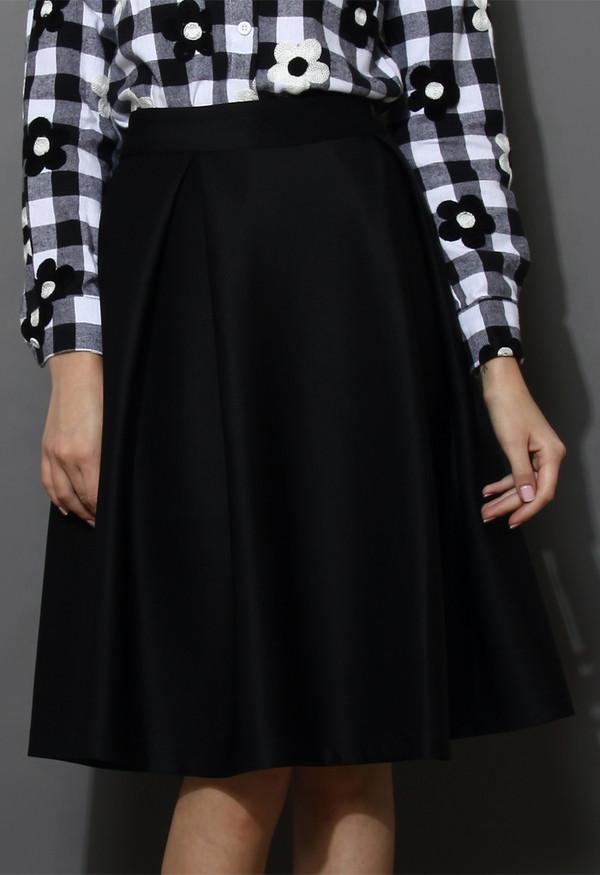 skirt full a-line midi skirt black