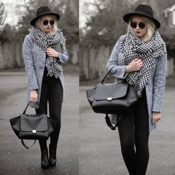 sammi jackson blogger scarf grey coat skinny jeans crocodile dress hat sunglasses coat bag jeans shoes