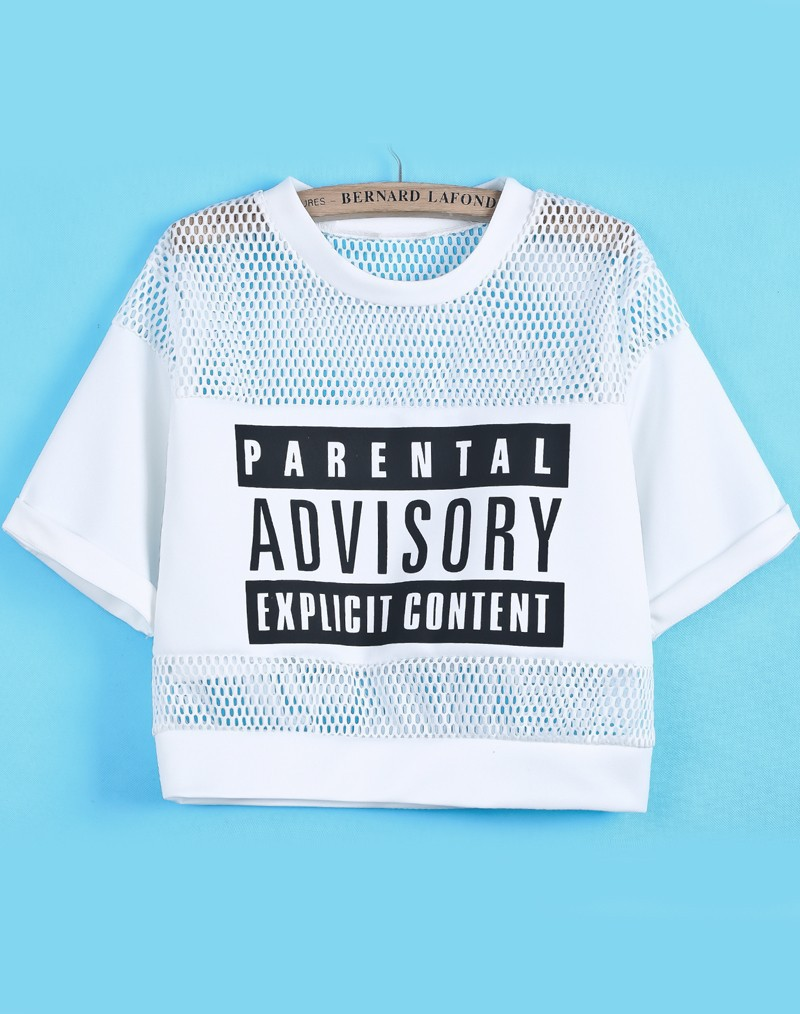Hot Top! 2014 Summer Fashion White Tees Parental Advisory Explicit Content Print Women Casual Hollow Mesh Yoke Crop Top T Shirt-in T-Shirts from Apparel & Accessories on Aliexpress.com