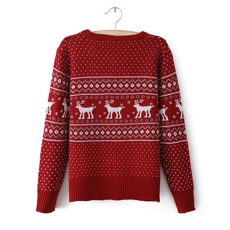Cute Cheap Cute playful deer print round neck pullover sweater - Pullovers Online Shopping Free Shipping 1281083758