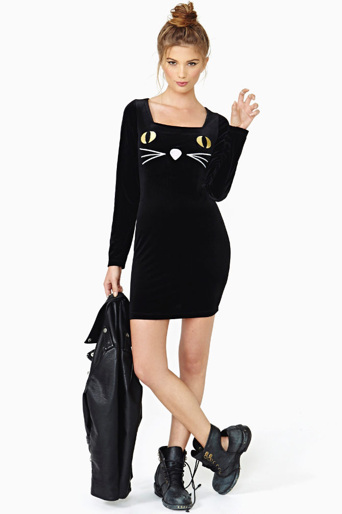 Aliexpress.com : Buy Free Shipping Long sleeved cats embroidery sexy slim dress party from Reliable party dress sleeves suppliers on ED FASHION.