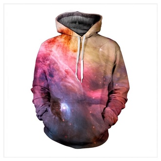 blouse nebula pink blue galaxy print stars hoodie pullover comfy all over print pastel kawaii sublimation