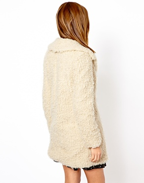 Warehouse | Warehouse Faux Fur Cream Coat at ASOS