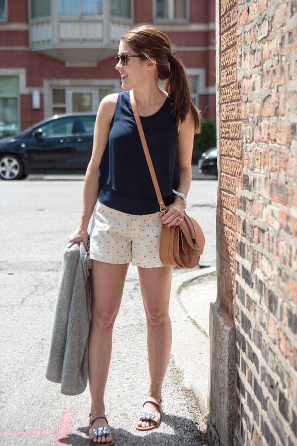 sequins and stripes top shorts shoes sweater sunglasses jewels bag