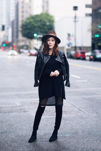 tsangtastic blogger hat fedora leather jacket see through dress knee high boots