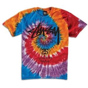 Stussy WT Swirl Tie Dye T-Shirt - Men's - Skate - Clothing - Orange/Black