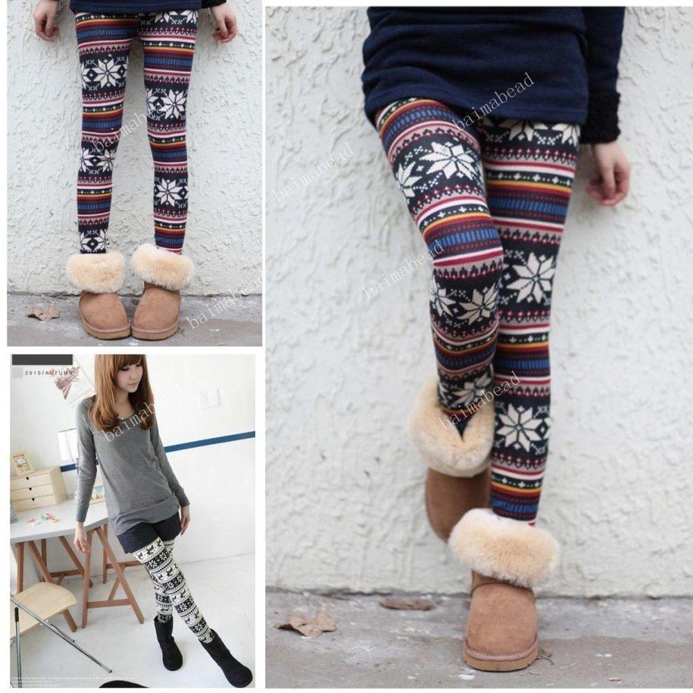 Knitted Nordic Xmas Snowflake Reindeer Knitted Warm Womens Leggings Tights Pants   eBay