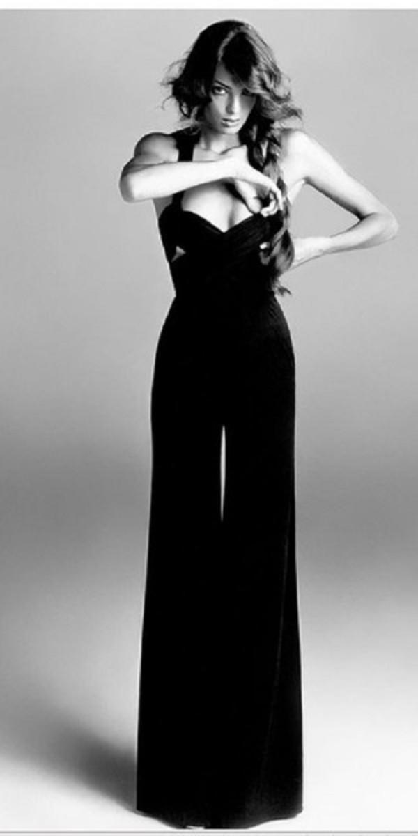 pants black sexy vintage jumpsuit v neck