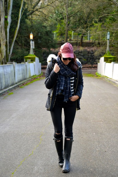 my style pill blogger scarf cap wellies parka hunter boots