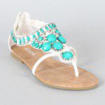 Soda Andrix-S Gemstone Thong Flat Sandal on Wanelo