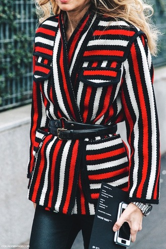 le fashion image blogger waist belt stripes striped jacket red jacket