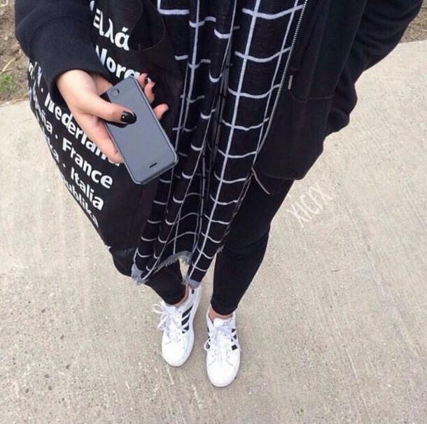 scarf scarfs grid scarf grid trendy trendy winter outfits grunge alternative on point on point clothing american apparel shoes shoe game bag plaid black white geomatric squared bars urban soft grunge jacket black jacket hoodie