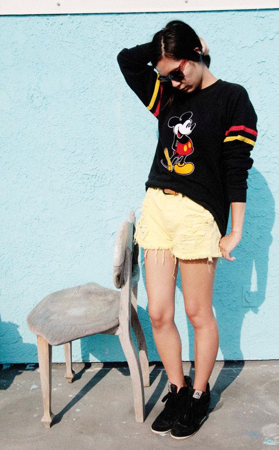 Vintage Mickey Mouse Black Sweatshirt by Fatliper on Etsy
