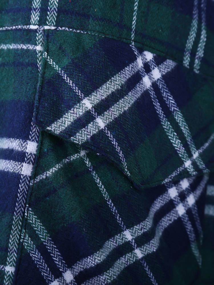 Green and Blue Plaid Print Long Sleeve Blouse - Sheinside.com