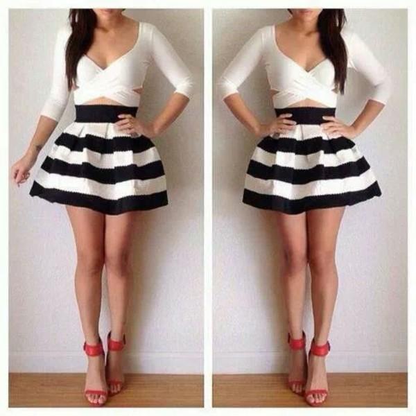 blouse skirt shoes black white short cute dressy dress style skater skirt stripes summer blue sexy mini skirt blackandwhitestripes circle skirt white cutout shirt