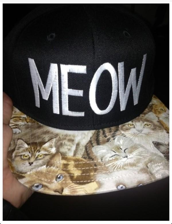 hat cats cats snapback snapback black