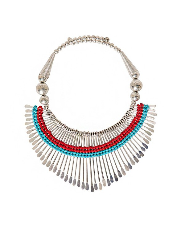 jewels necklace tribal pattern silver red blue summer dress summer spring affordable dresses pixie market pixie market girl