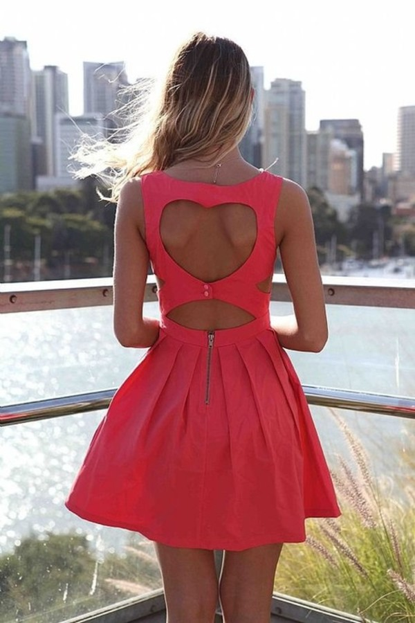 dress cute heart zip red/pink openback open back dresses pink short dress coral dress skater cut-out summer neon pink dress cut out back coral