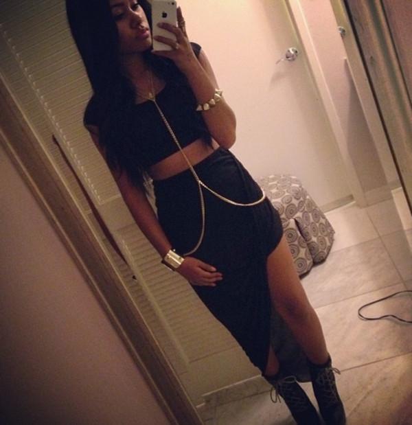 dress pretty cute black little black dress dasjha alejandro body chain jewels
