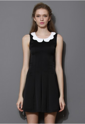 Little Black Dress with Contrast Scalloped Collar  - Retro, Indie and Unique Fashion
