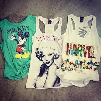 tank top marilyn monroe mickey mouse marvel comic shirt aqua white white tank top superheroes cutout back